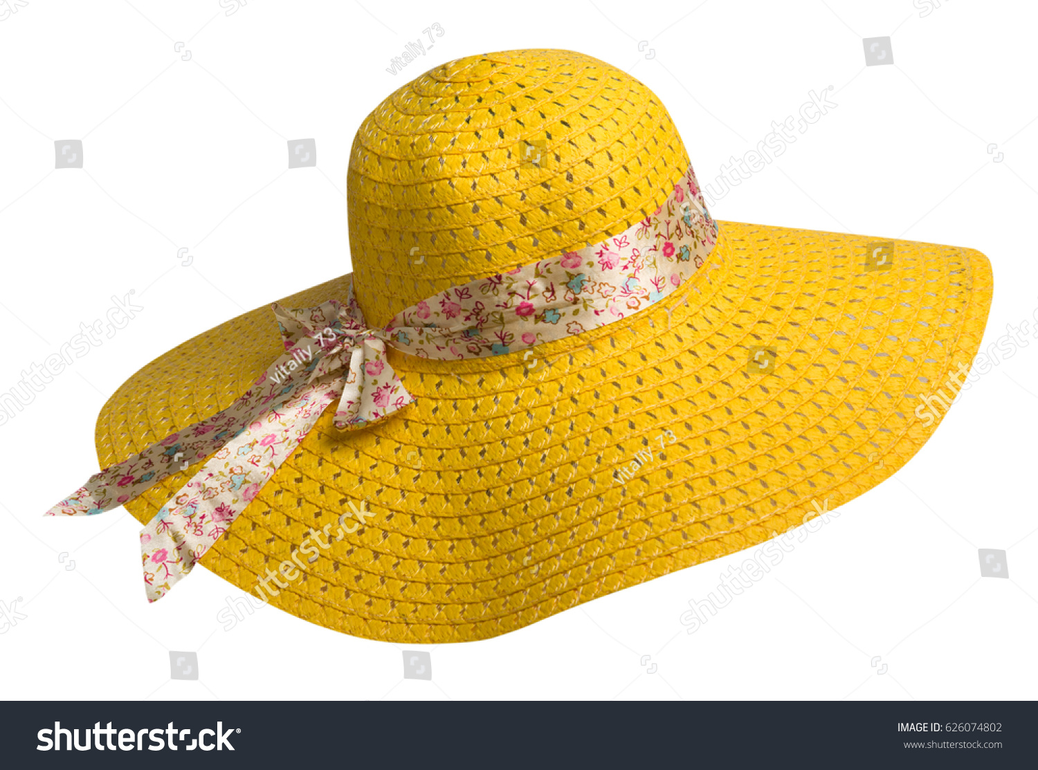 woman  hat isolated on white background .Women's beach hat . colorful hat .yellow hat . #626074802