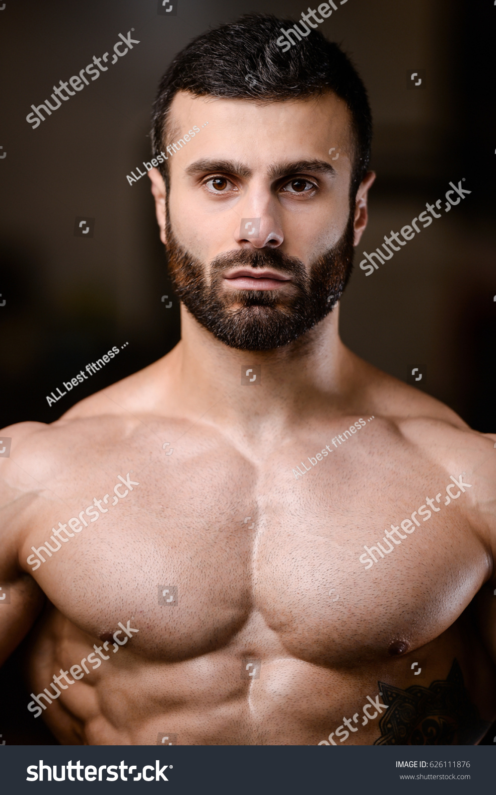 Portrait Handsome Guy On Background Gym Foto de stock (libre de ...