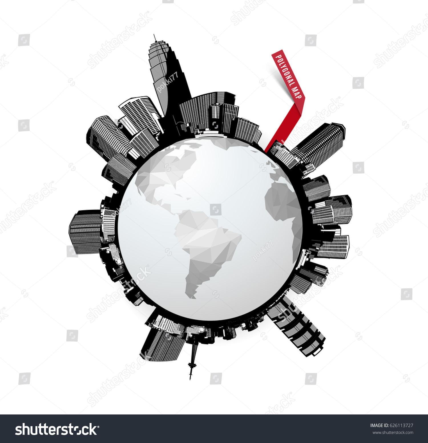 Black white circle cityscape skyscrapers world vectores en stock black and white circle cityscape with skyscrapers and world polygonal map gumiabroncs Gallery
