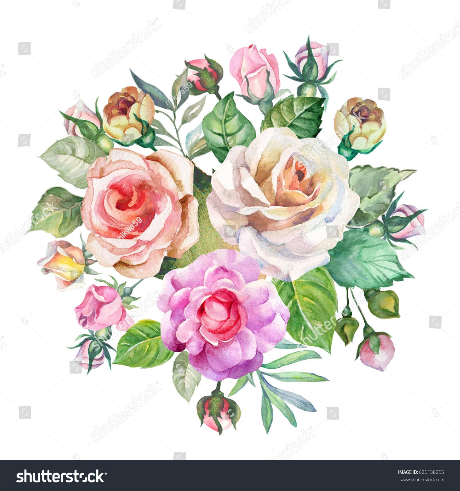 Cute bouquet of watercolor roses ez canvas id 626138255 izmirmasajfo