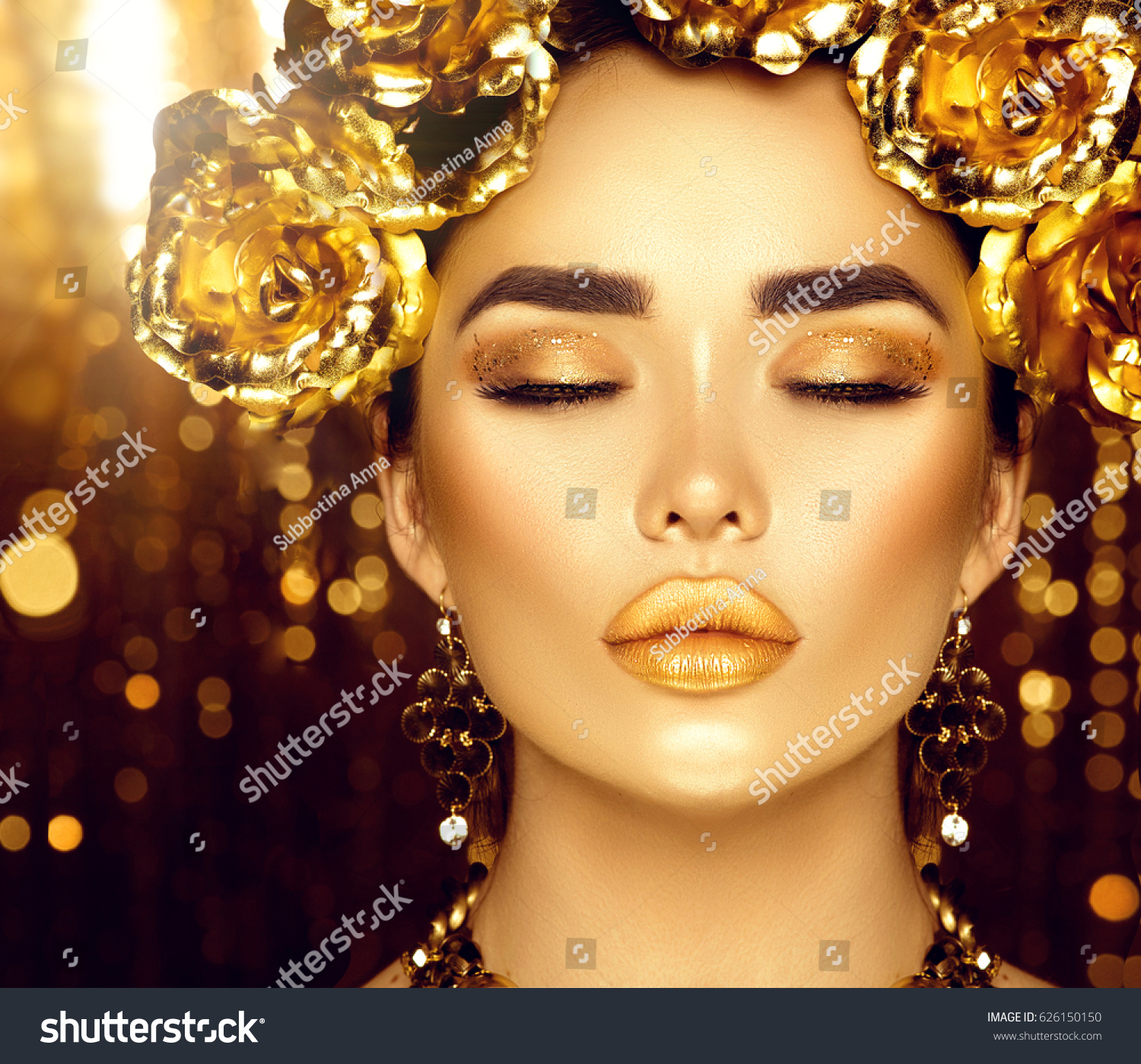 Gold Woman Holiday Makeup Beauty Fashion Model Girl With Golden Make Up Flowers Hairstyle