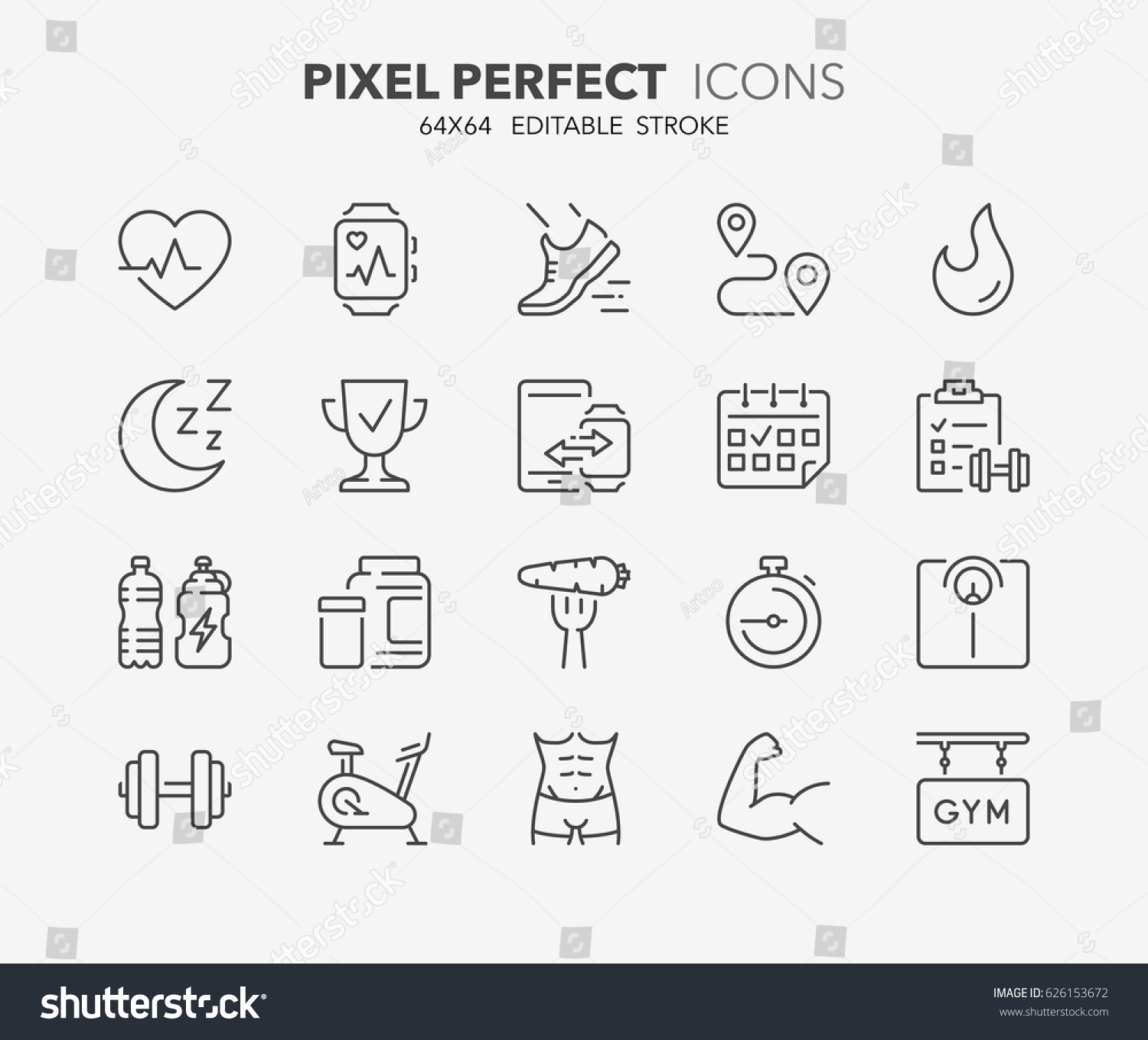 Thin line icons set of fitness, gym and health care. Outline symbol collection. Editable vector stroke. 64x64 Pixel Perfect.