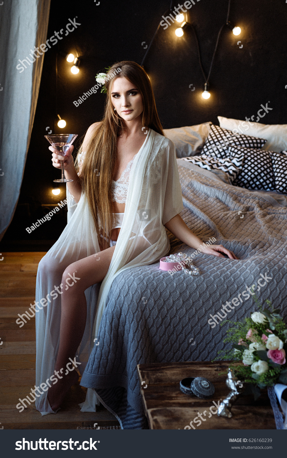 Girl Long White Dressing Gown Sits Stock Photo (Edit Now) 626160239 ...