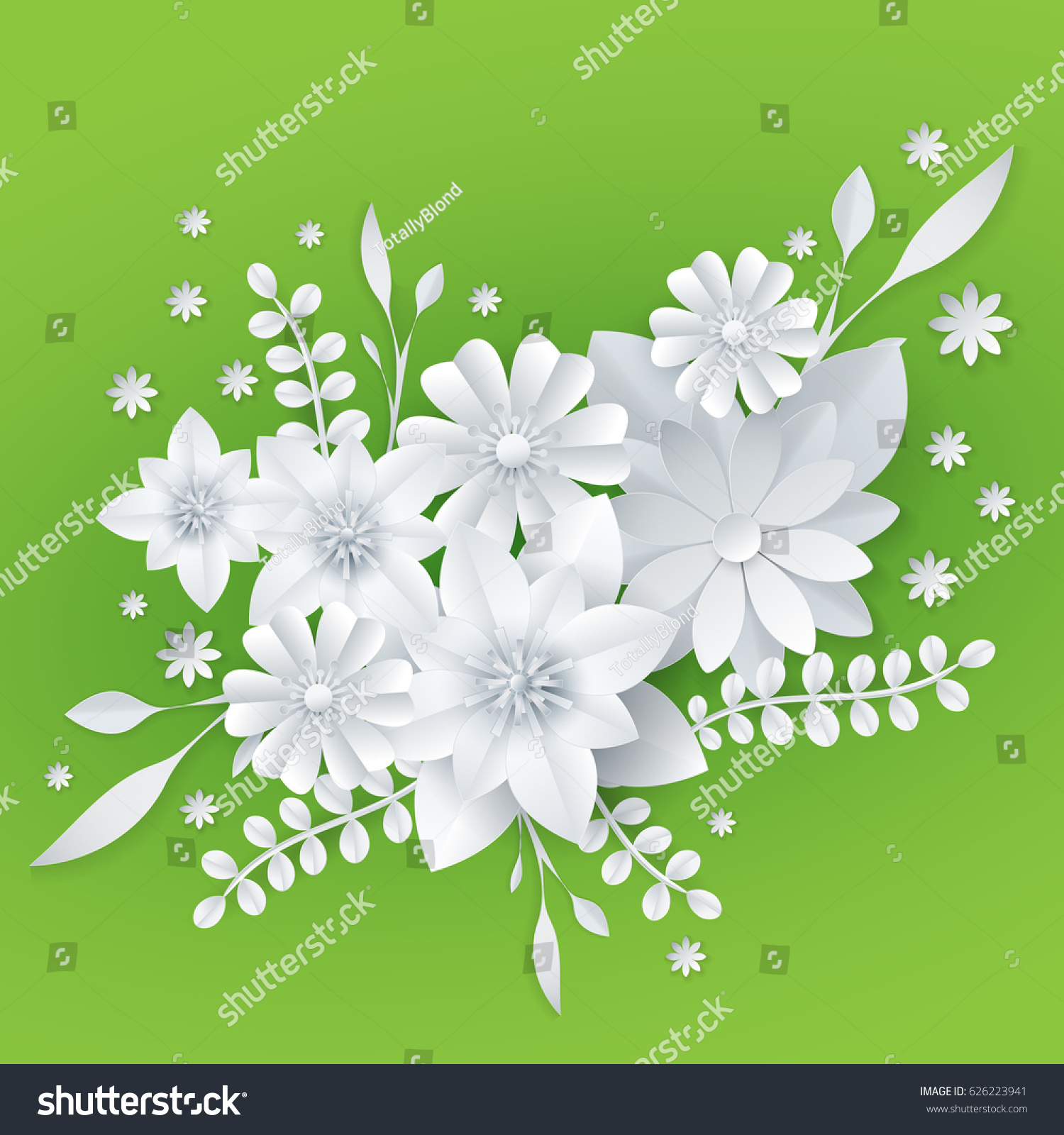 3 d white paper craft flowers background stock vector royalty free 3d white paper craft flowers background spring wedding decoration summer bridal bouquet greeting izmirmasajfo