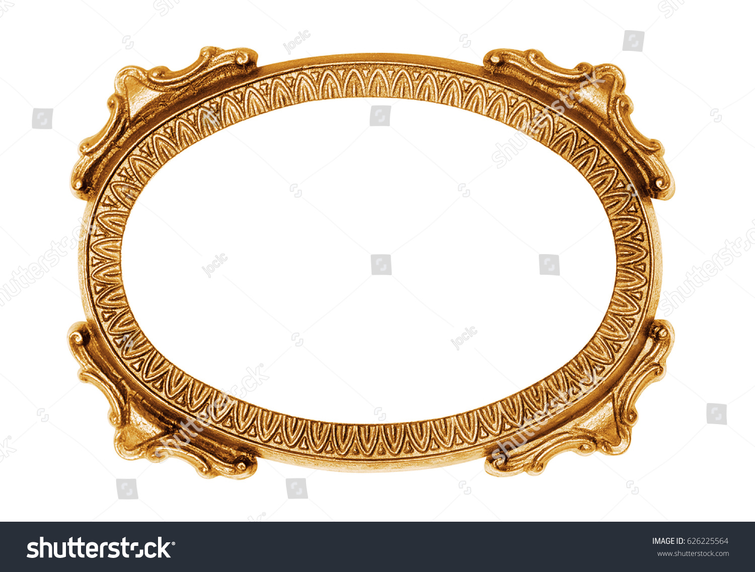 Gold Oval Vintage Frame Isolated On Stock Photo (Royalty Free ...