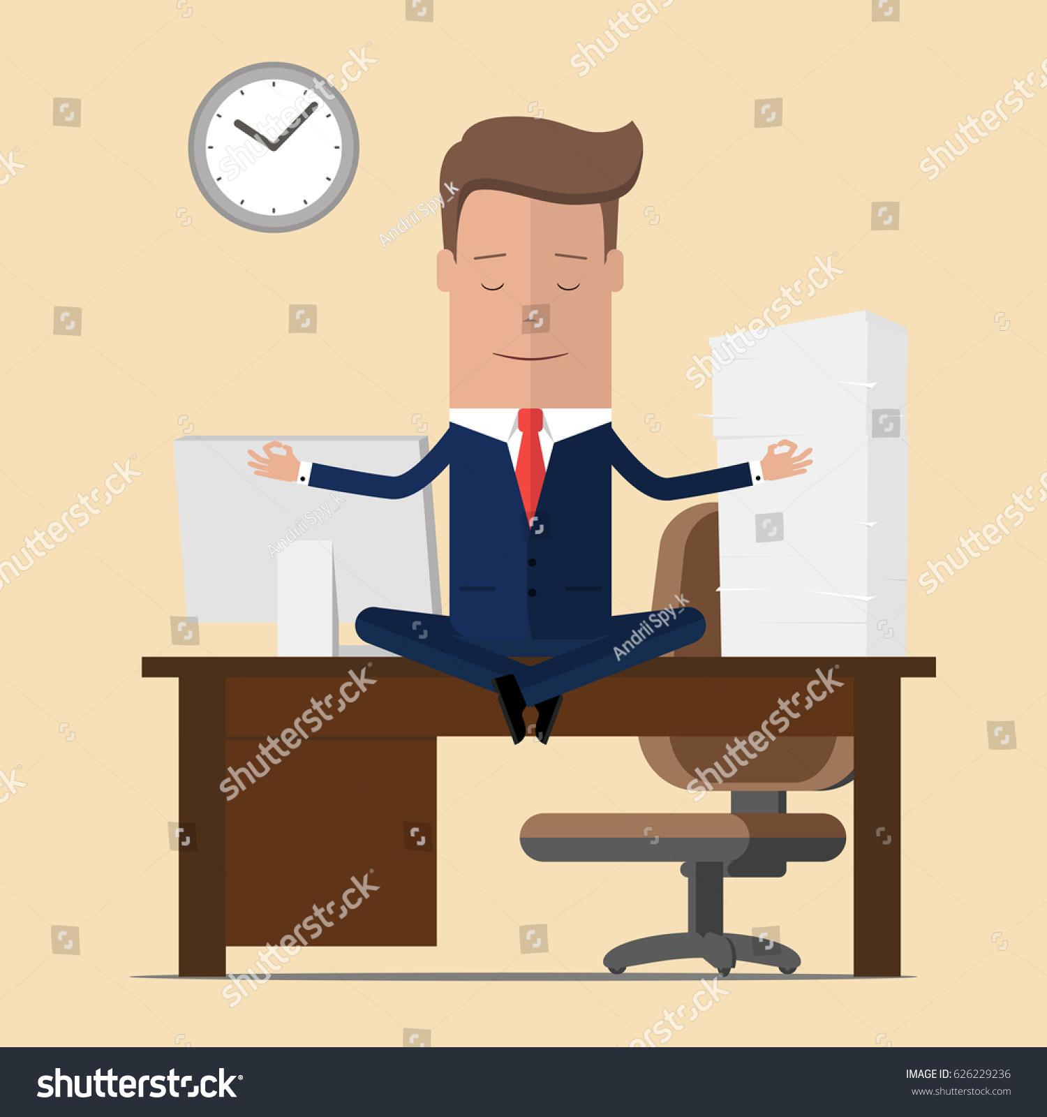 meditation businessman office. businessman meditation in office yoga at job young man relaxing lotus position on a