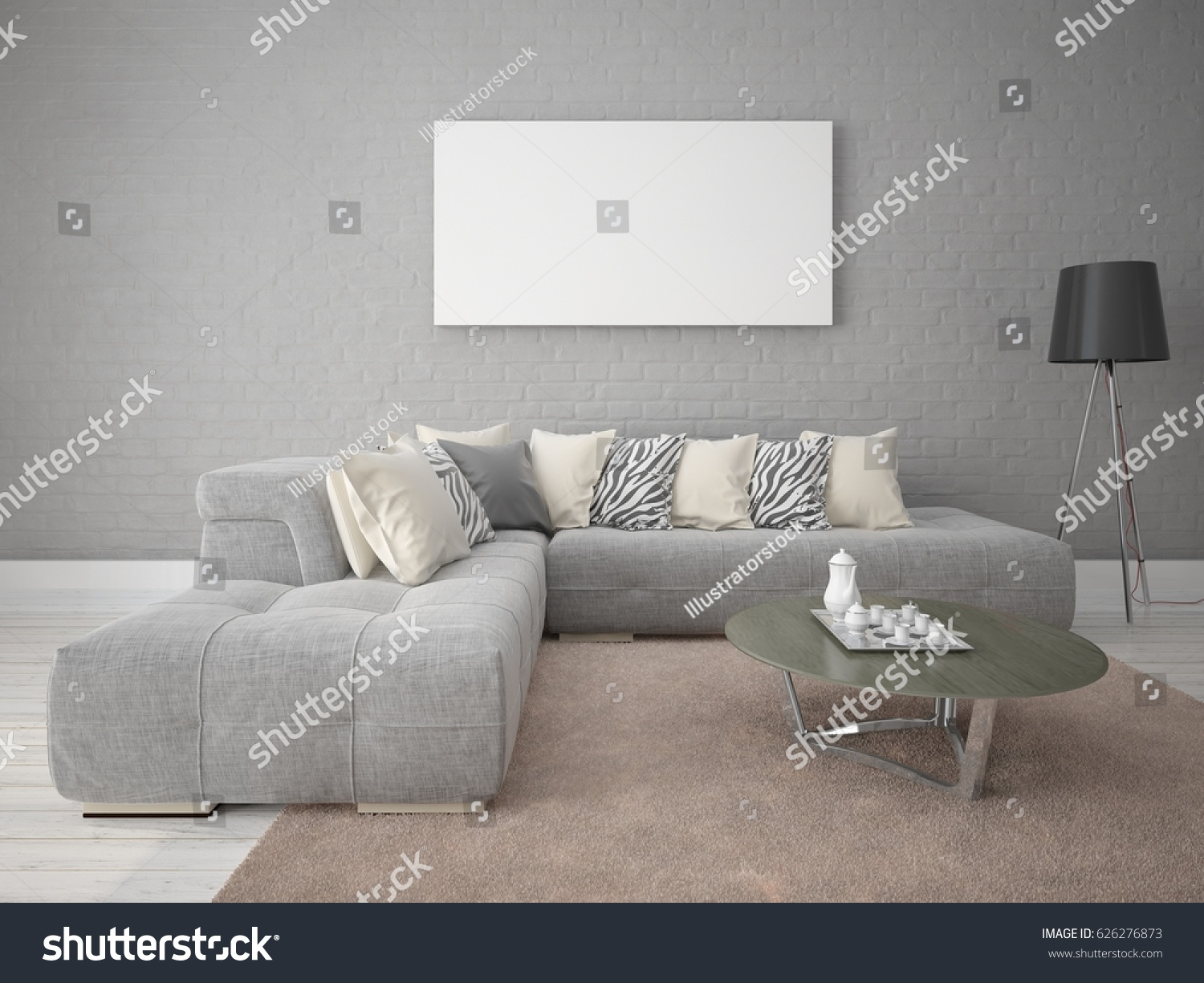 Mock up a modern living room with a stylish sofa set against a gray brick  wall. Mock Modern Living Room Stylish Sofa Stock Illustration 626276873