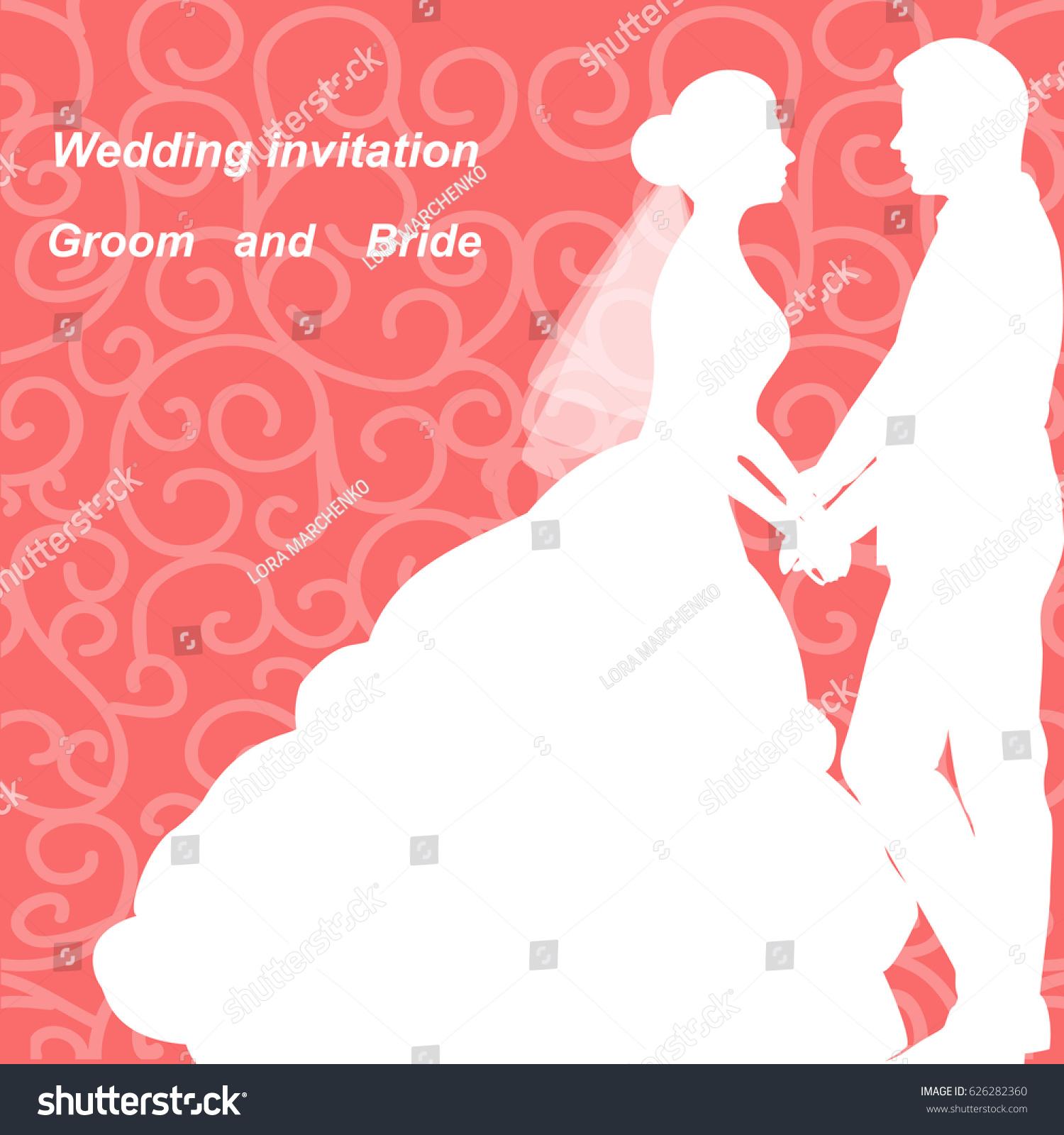 Wedding Invitation Bride Groom On Abstract Stock Vector (Royalty ...