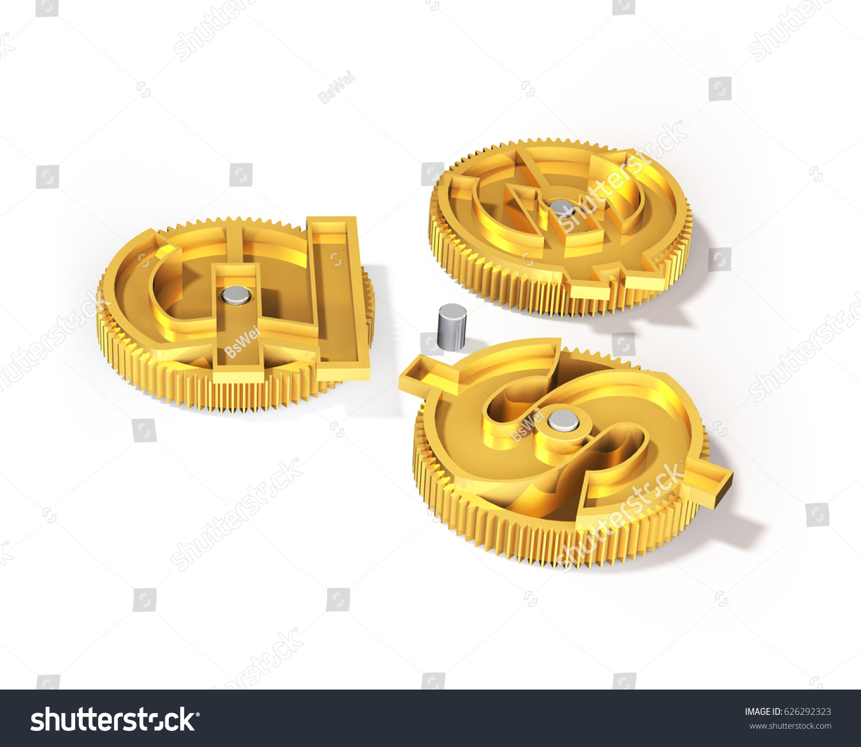 Gears Gold Dollar Sign Pound Euro Stock Illustration 626292323