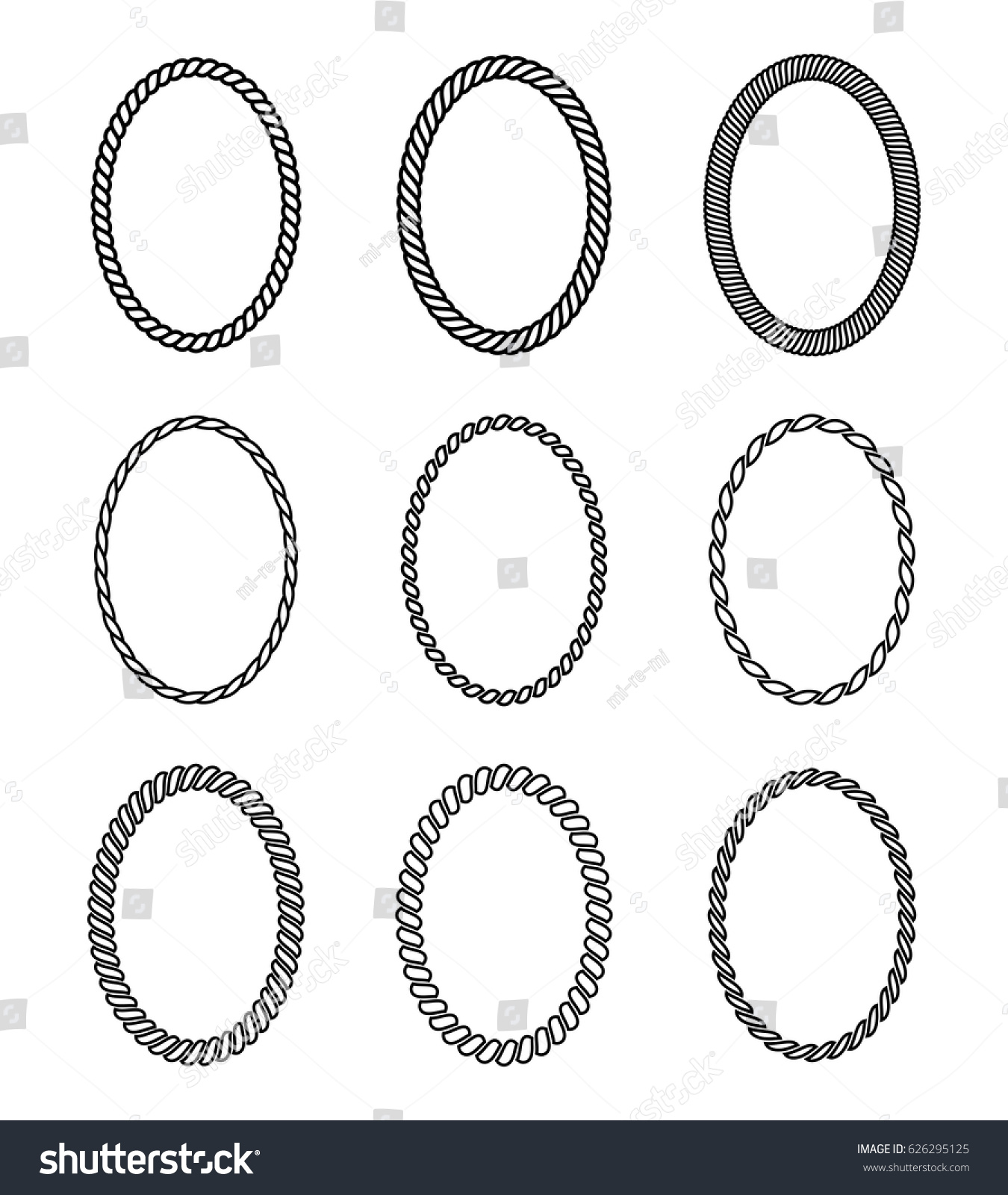 vector rope set oval frames collection のベクター画像素材