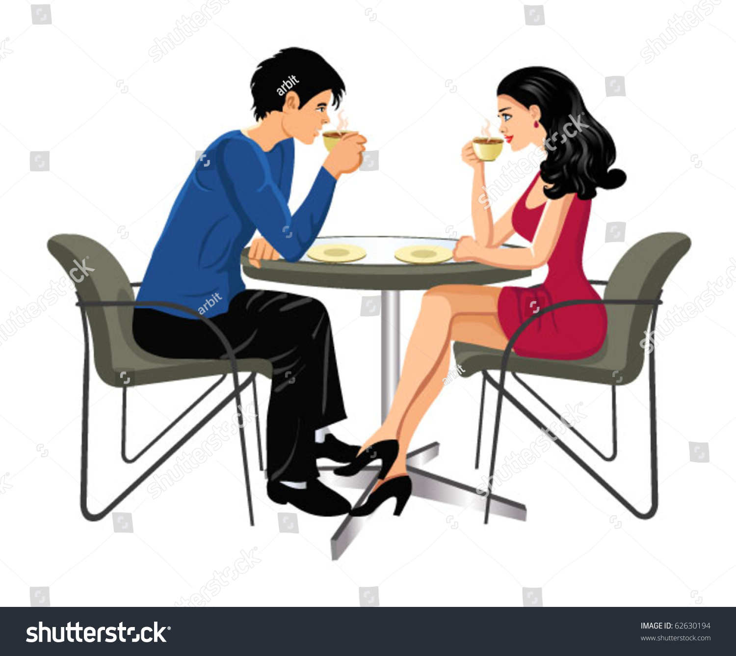 Man Woman Drinking Coffee Stock Vector 62630194 - Shutterstock