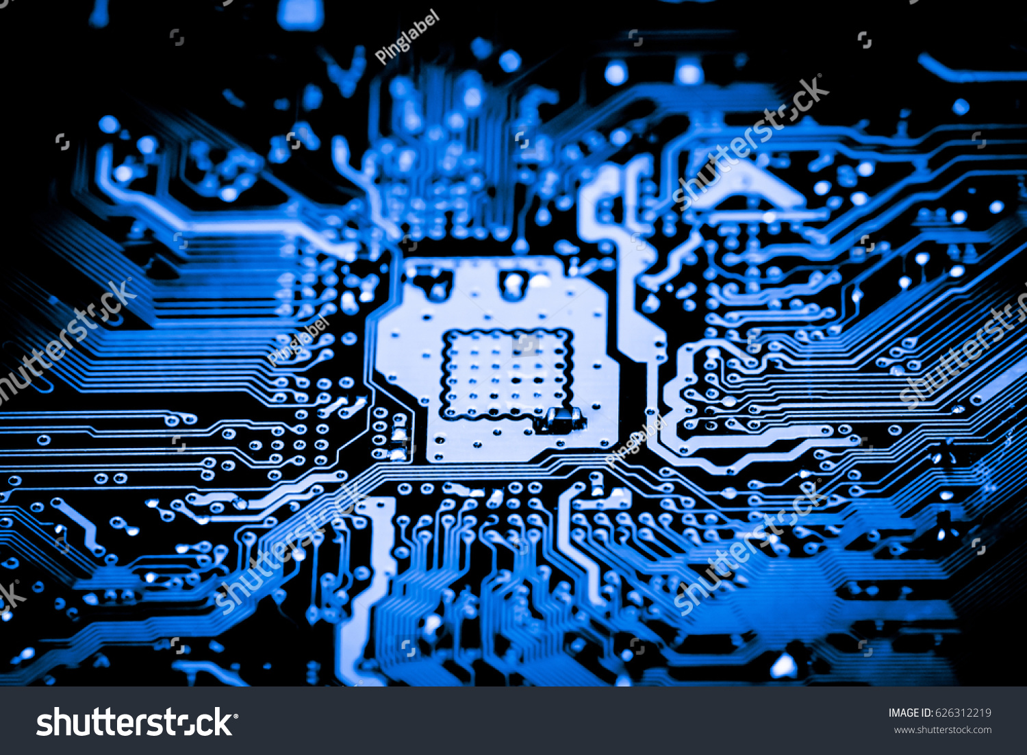 Close Electronic Circuits Technology On Mainboard Stock Photo Edit Circuit And Logic Design Up Of In Background Main Boardcpu Motherboard