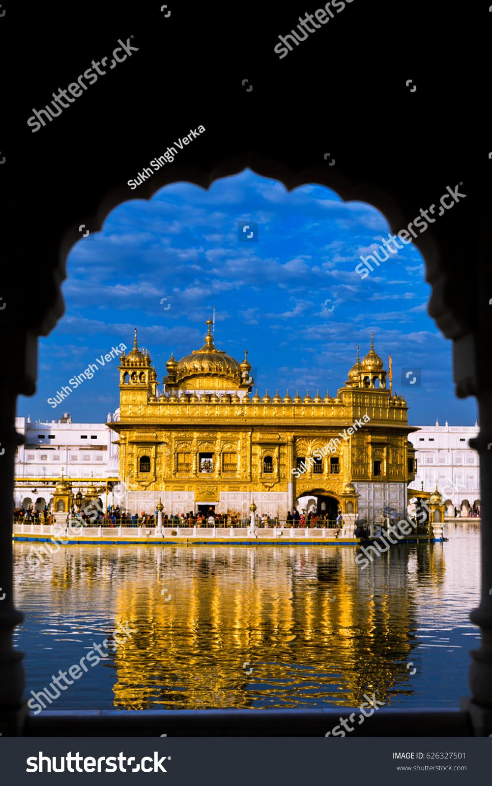 golden temple amritsar portrait dimension stock photo (100% legal