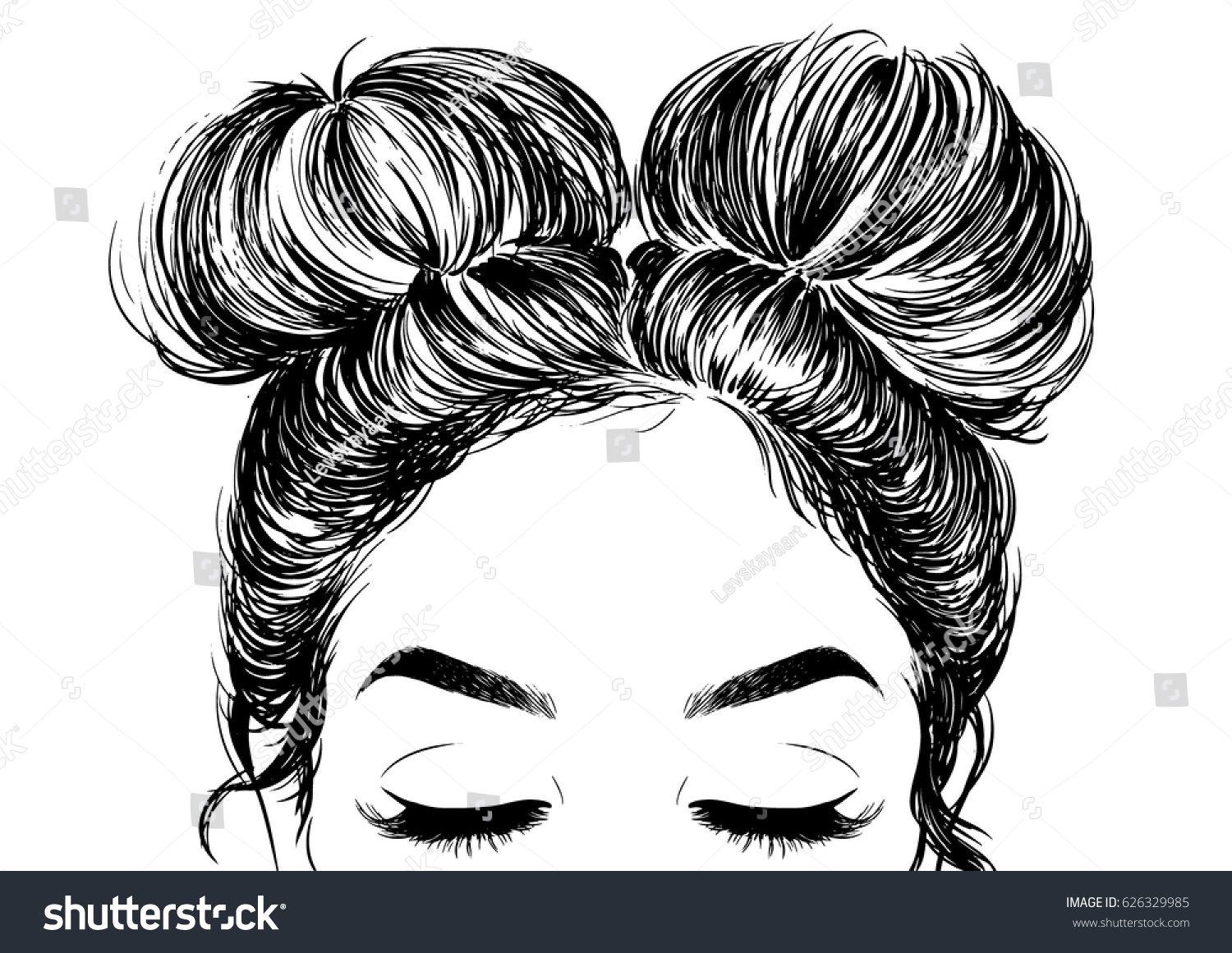 Hairstyle Vector: Hairstyle Double Buns Stock Vector 626329985