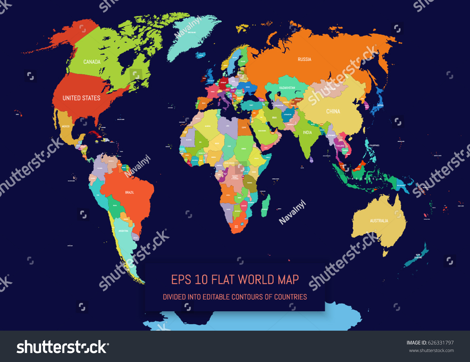 Flat world map divided into editable vectores en stock 626331797 flat world map divided into editable contours of countries country names template for your gumiabroncs Images