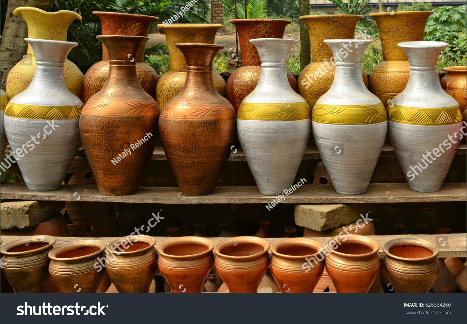 Unique handmade colorful ceramic vases clay stock photo 626334260 unique handmade colorful ceramic vases clay pots stacked for sale pottery making place reviewsmspy