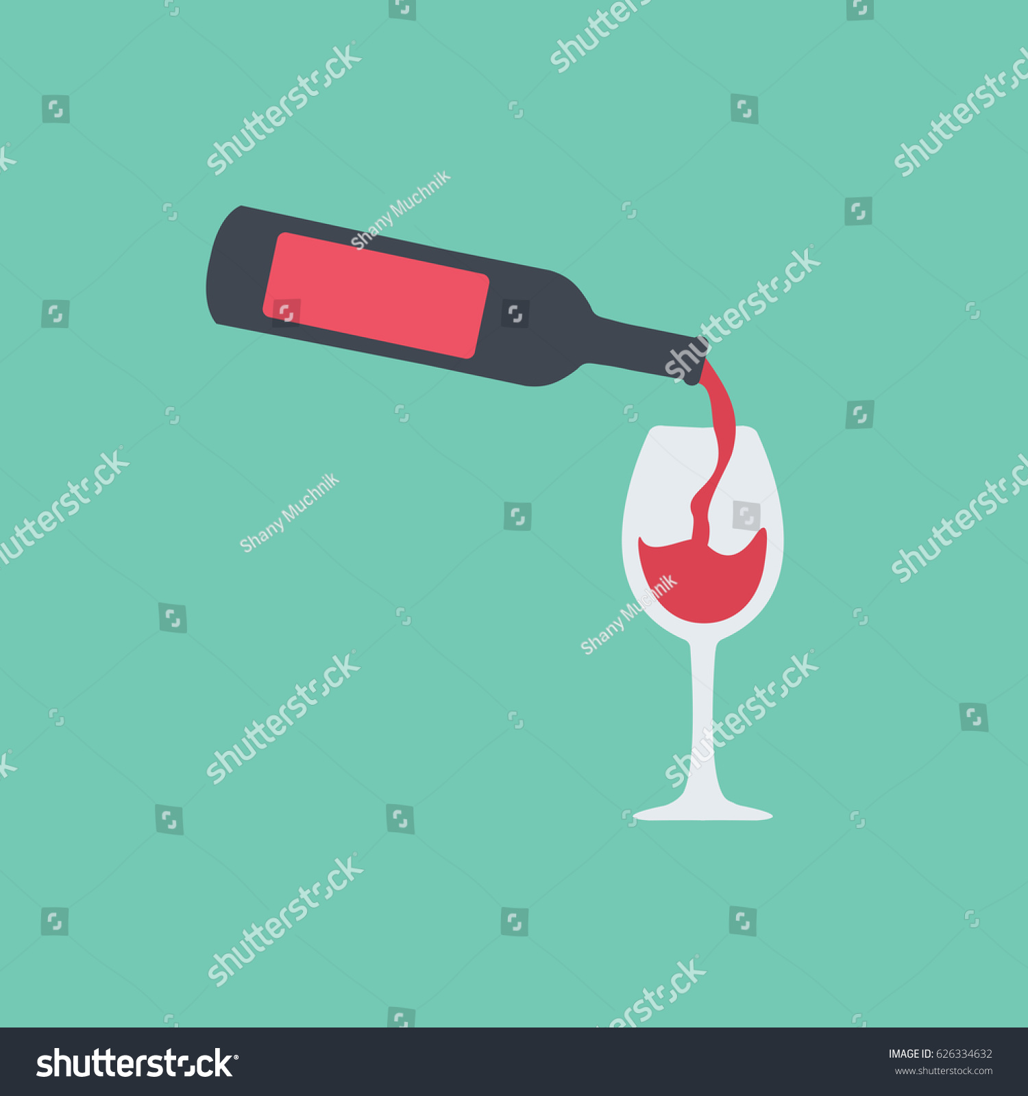 Beautiful modern flat design style bottle stock vector 626334632 beautiful modern flat design style bottle icon or symbol of wine pouring red tasty wine into biocorpaavc Gallery