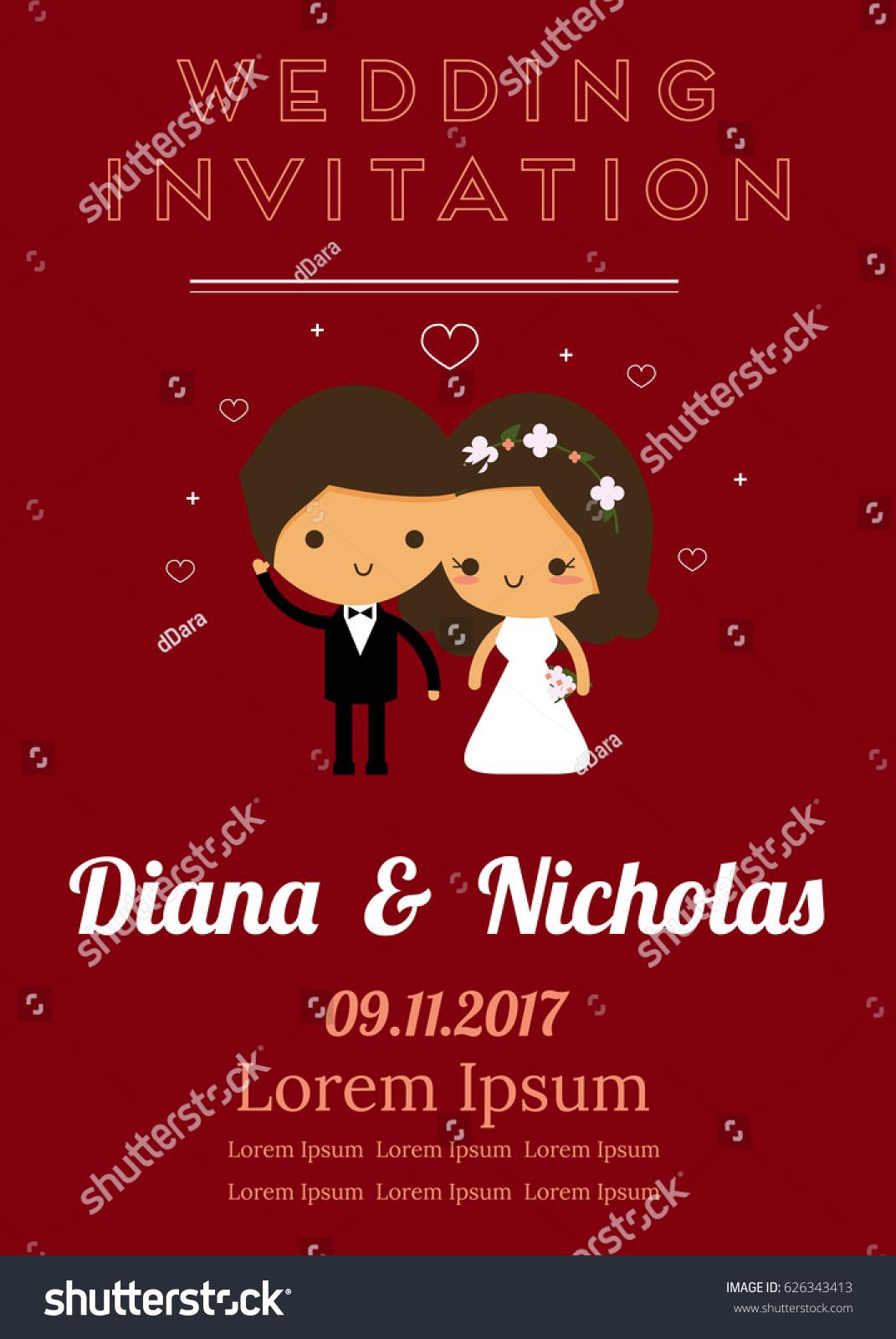 Vector Design Wedding Card Wedding Couple Stock Vector (Royalty Free ...