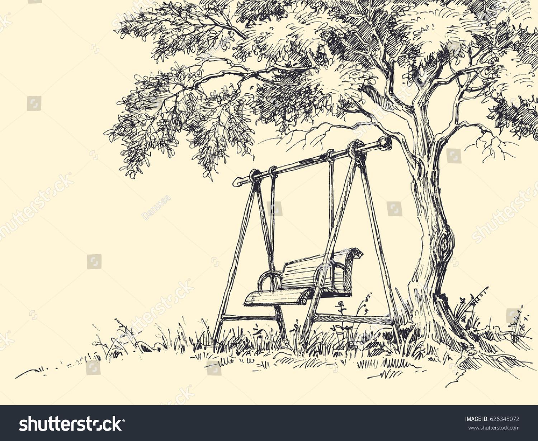 Swing Under Tree Vector Illustration Playground Stock