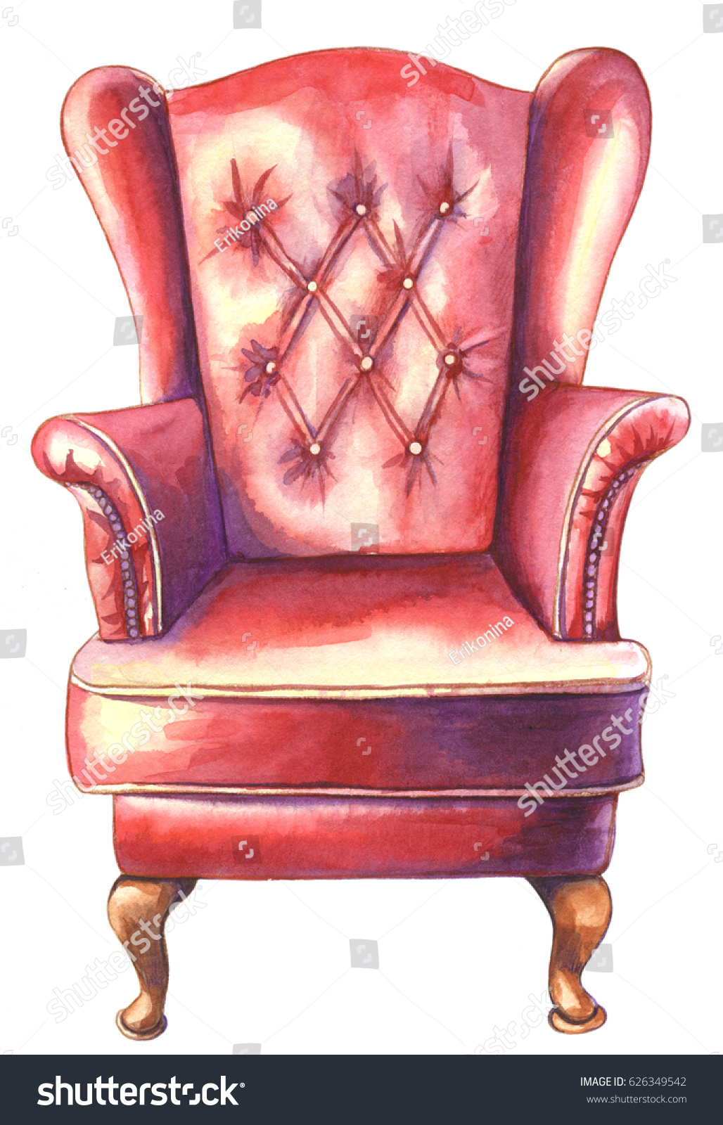 Watercolor Illustration Of Red Leather Armchair Modern Designer Armchair  Isolated On White Background.