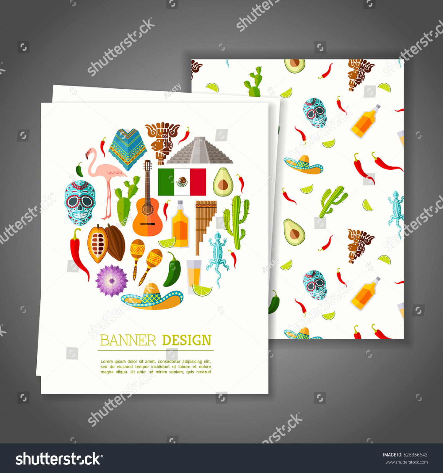 Cards National Symbols Mexico Greeting Invitation Stock Vector