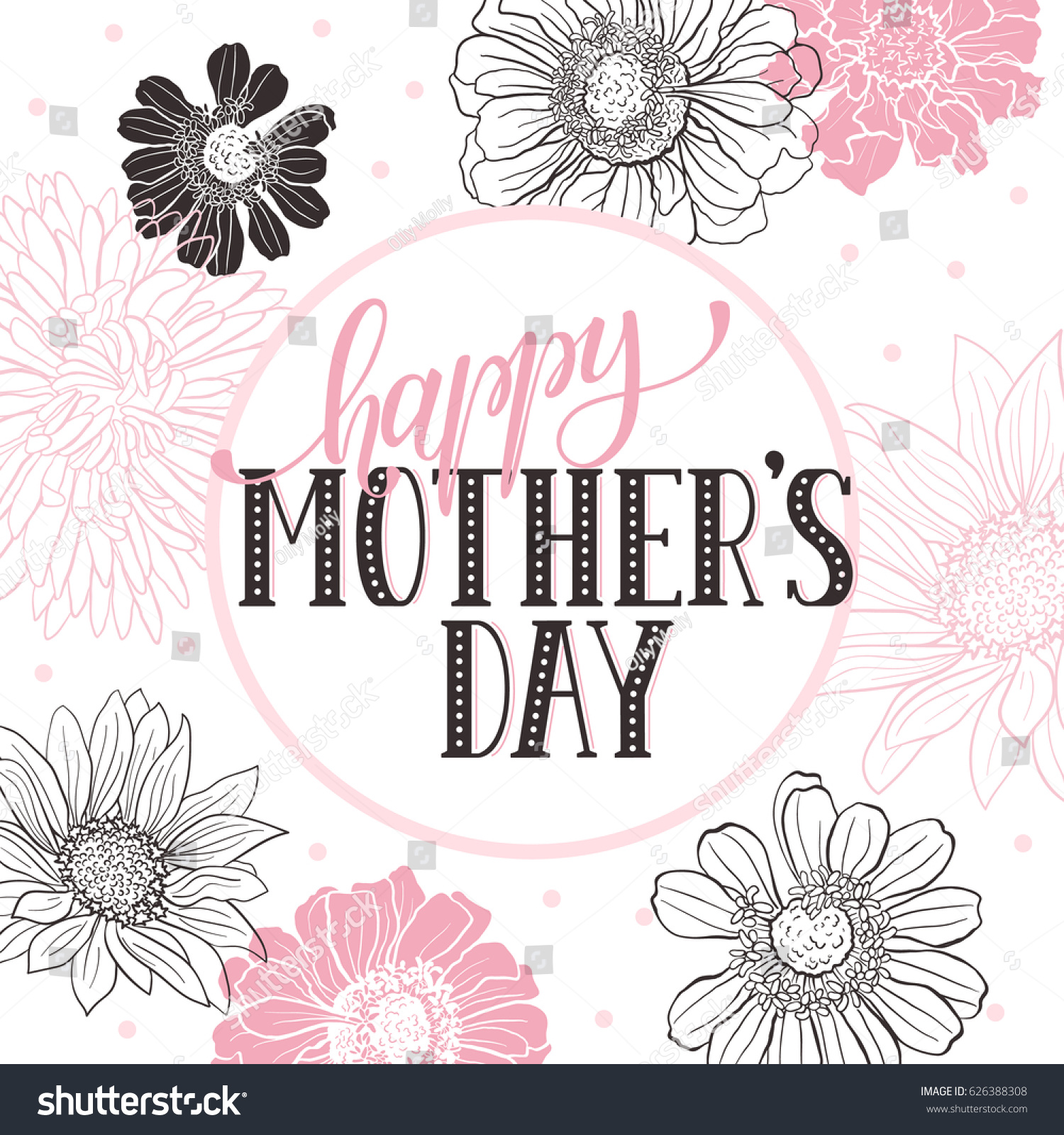 Mother day greeting card happy mothers stock vector 626388308 mother day greeting card happy mothers day wording with flowers outlines on white background kristyandbryce Choice Image