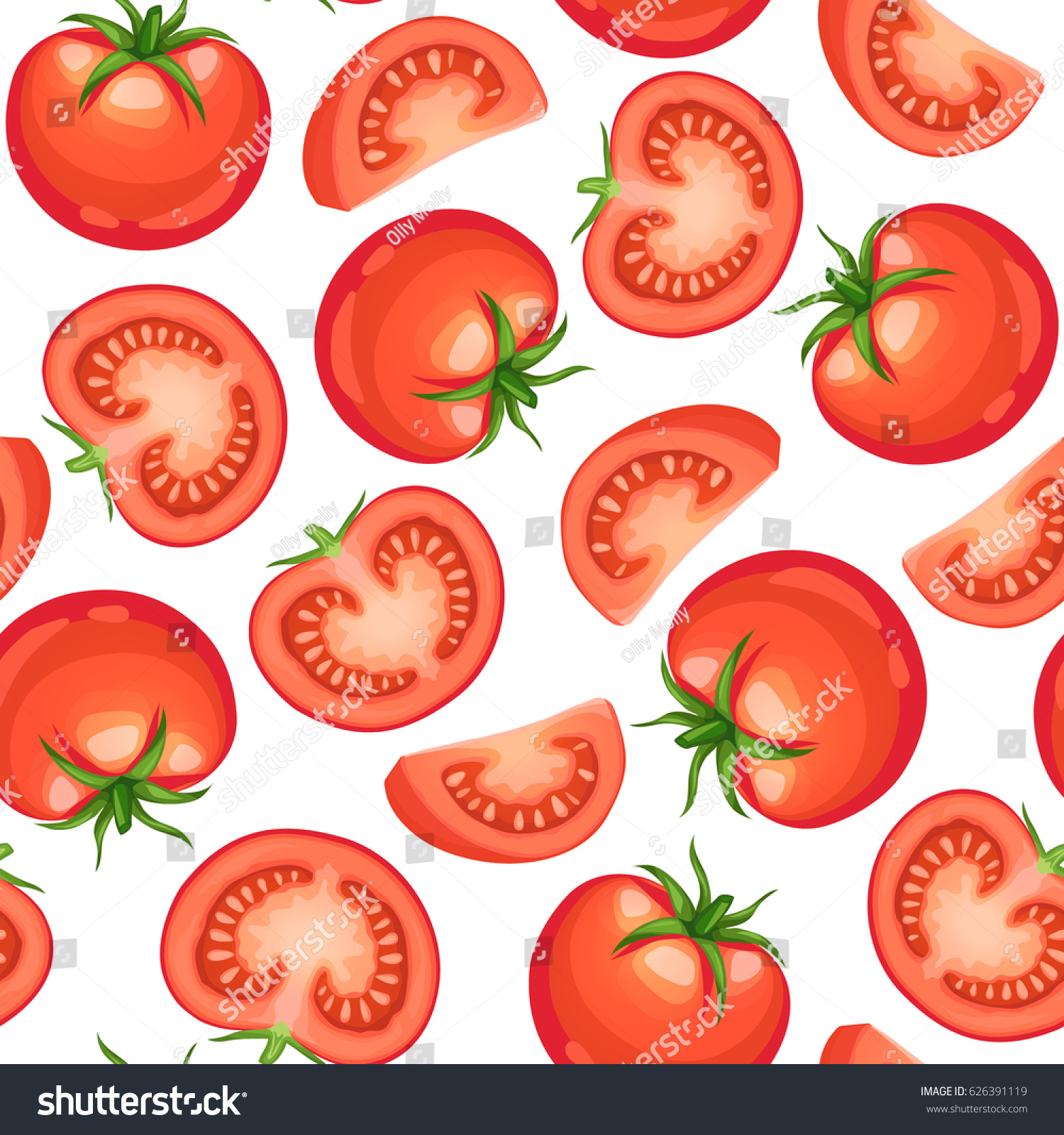 Seamless background from chopped ripe tomatoes isolated on white background.  Fresh tomato slices pattern.