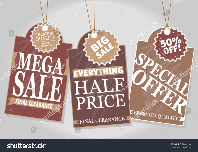 Set of creative sale or price tags mega sale half price final clearance