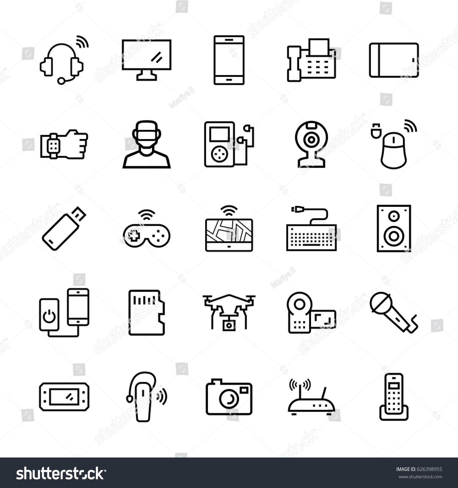 Electronicgadgets Devices Icon Set Vector Symbols Stock Vector
