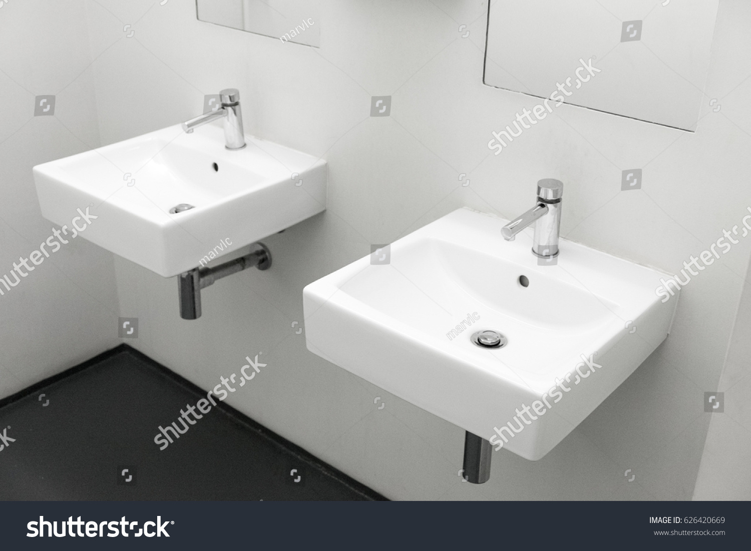 Two Washbasin To European Public Toilet Modern Ceramic Washbasins Sink With Chrome