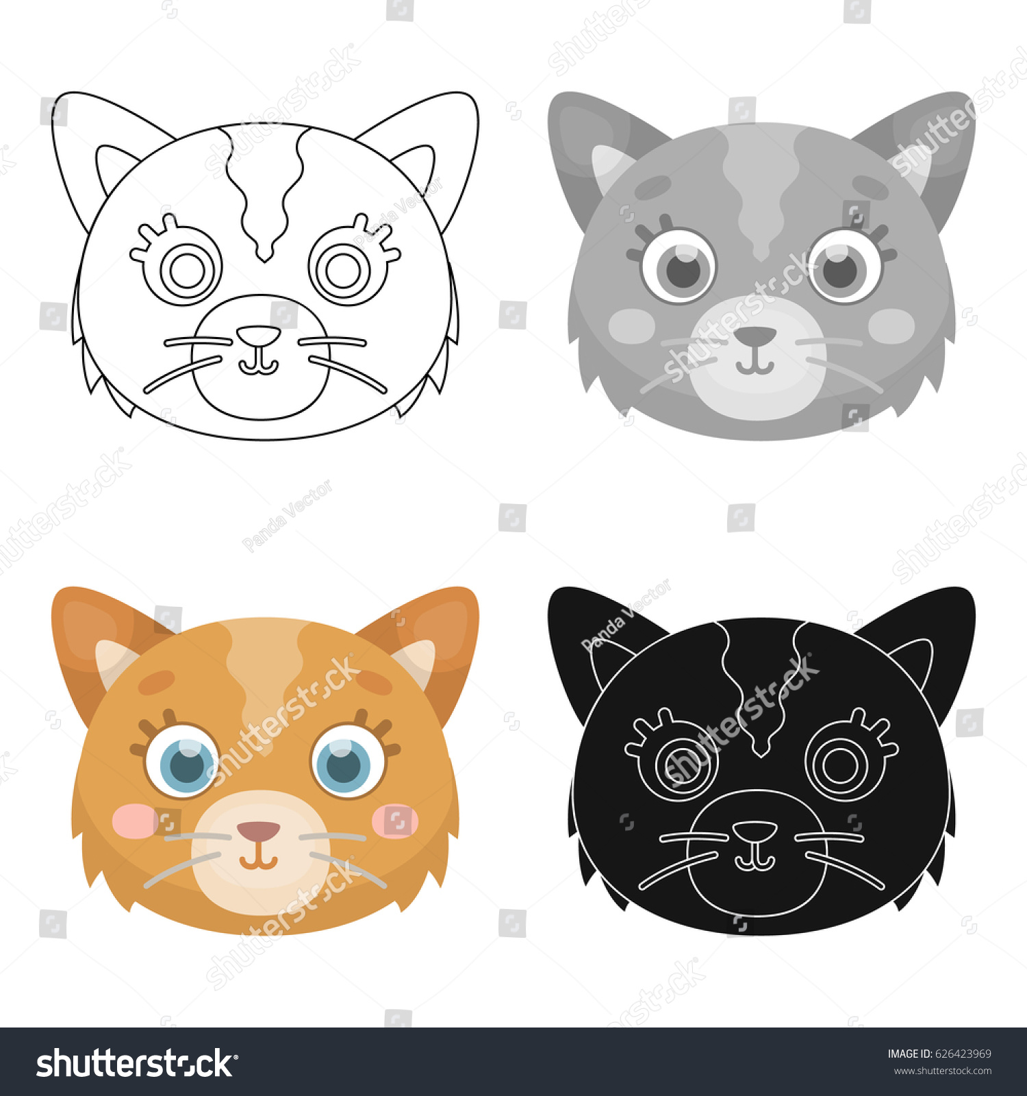 Cat Muzzle Icon In Cartoon Style Isolated On White Background