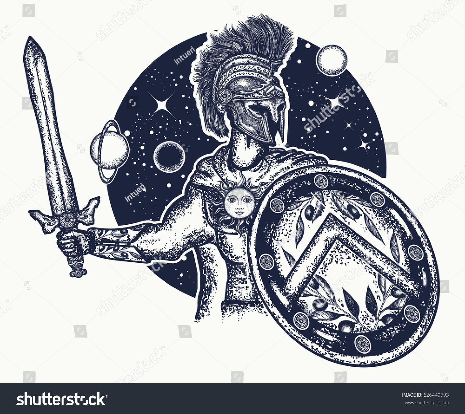 spartan warrior holding sword and shield tattoo art legionary of ancient rome and ancient greece - Ancient Rome Designs