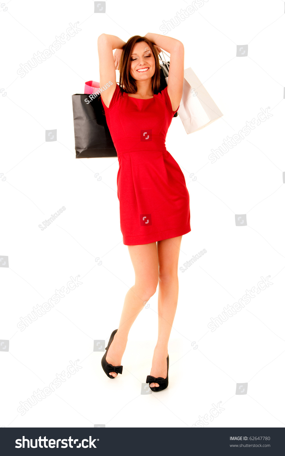 Happy Girl Red Dress Wearing Black Stock Photo 62647780 - Shutterstock