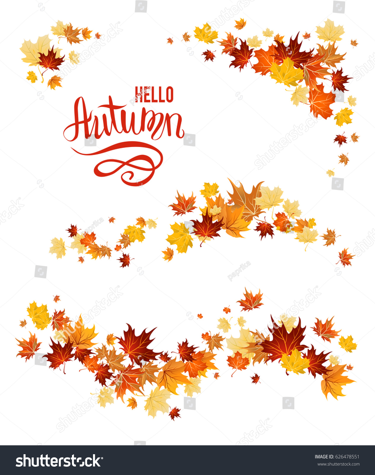 Autumn leaves design elements. Maple fall leaves set.