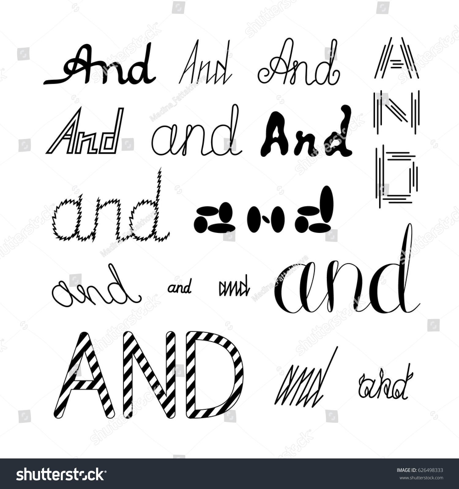 Set Of Catchwords And In Different Types Font Hand Drawn Calligraphic Collection Indefinite