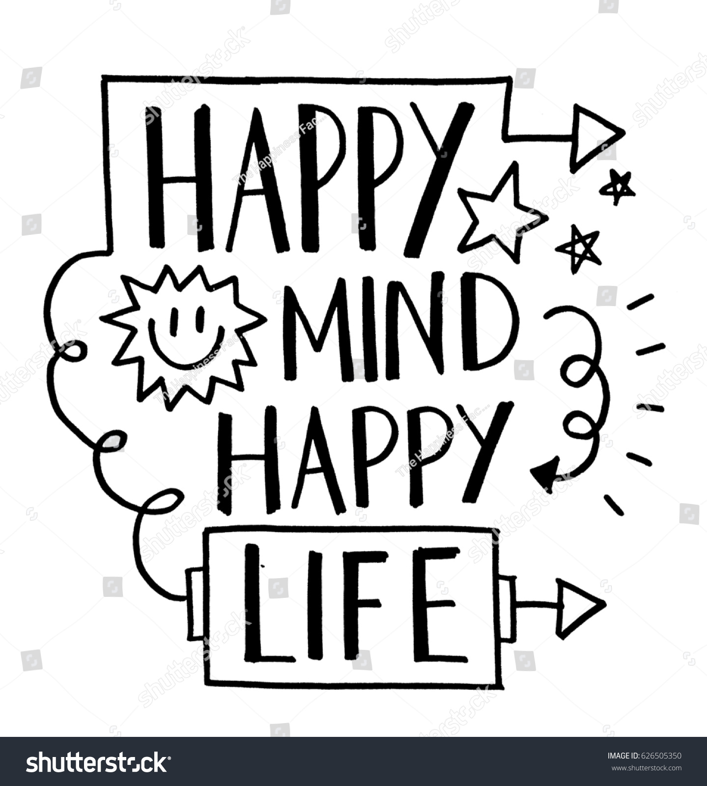 How To Be Happy In Life Quotes Happy Life Quote Stock Illustration 626505350  Shutterstock
