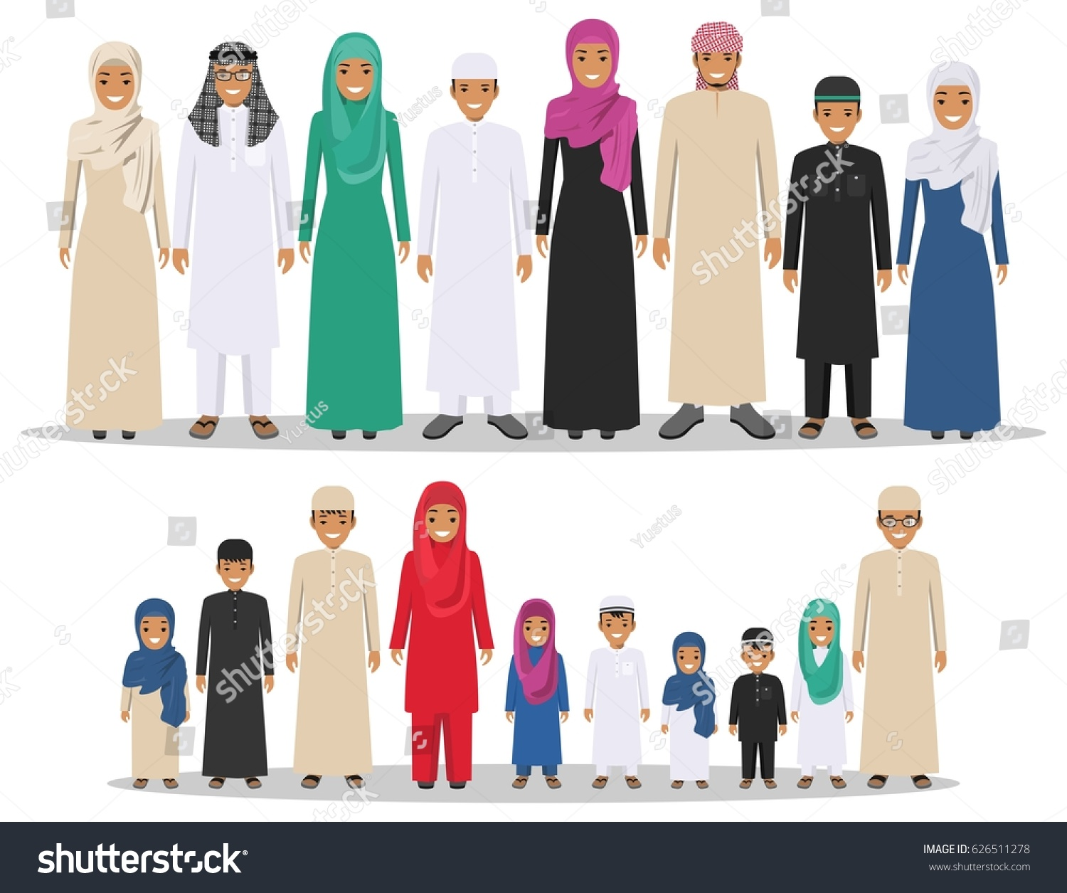 Family Social Concept Group Muslim Arabian Stock Vector ...