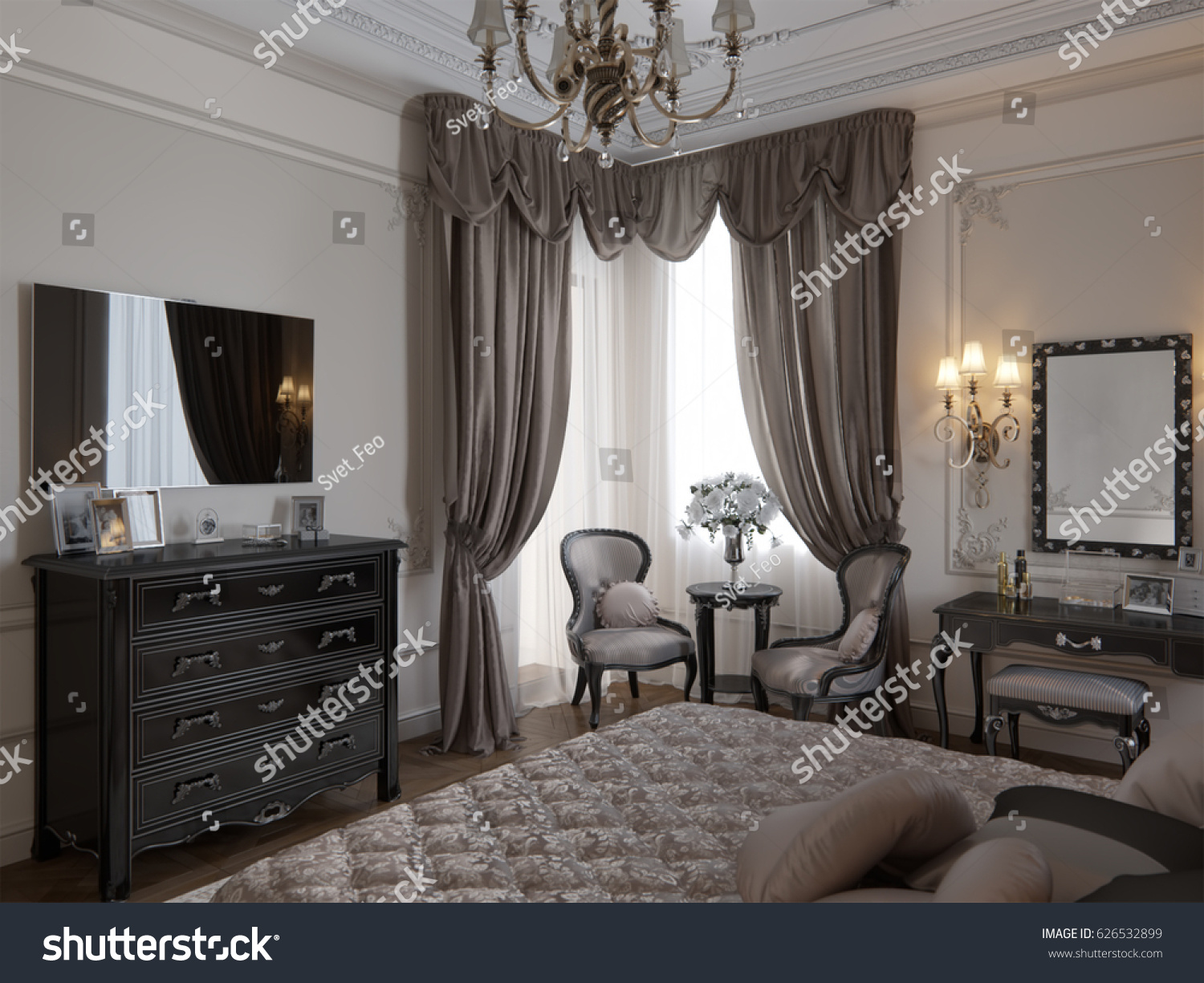 Luxury classic modern bedroom interior design stock illustration 626532899 shutterstock - Beautiful contemporary bedroom design ideas for releasing stress at home ...