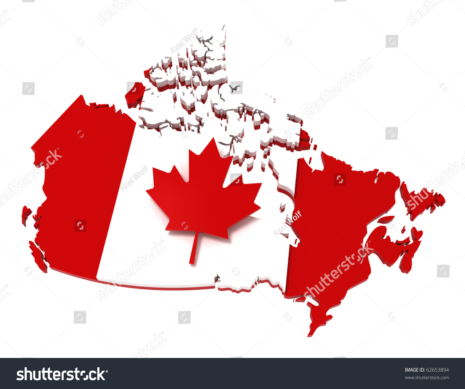 Canada Map Flag.Royalty Free Stock Illustration Of Canada Map Flag Clipping Path 3 D
