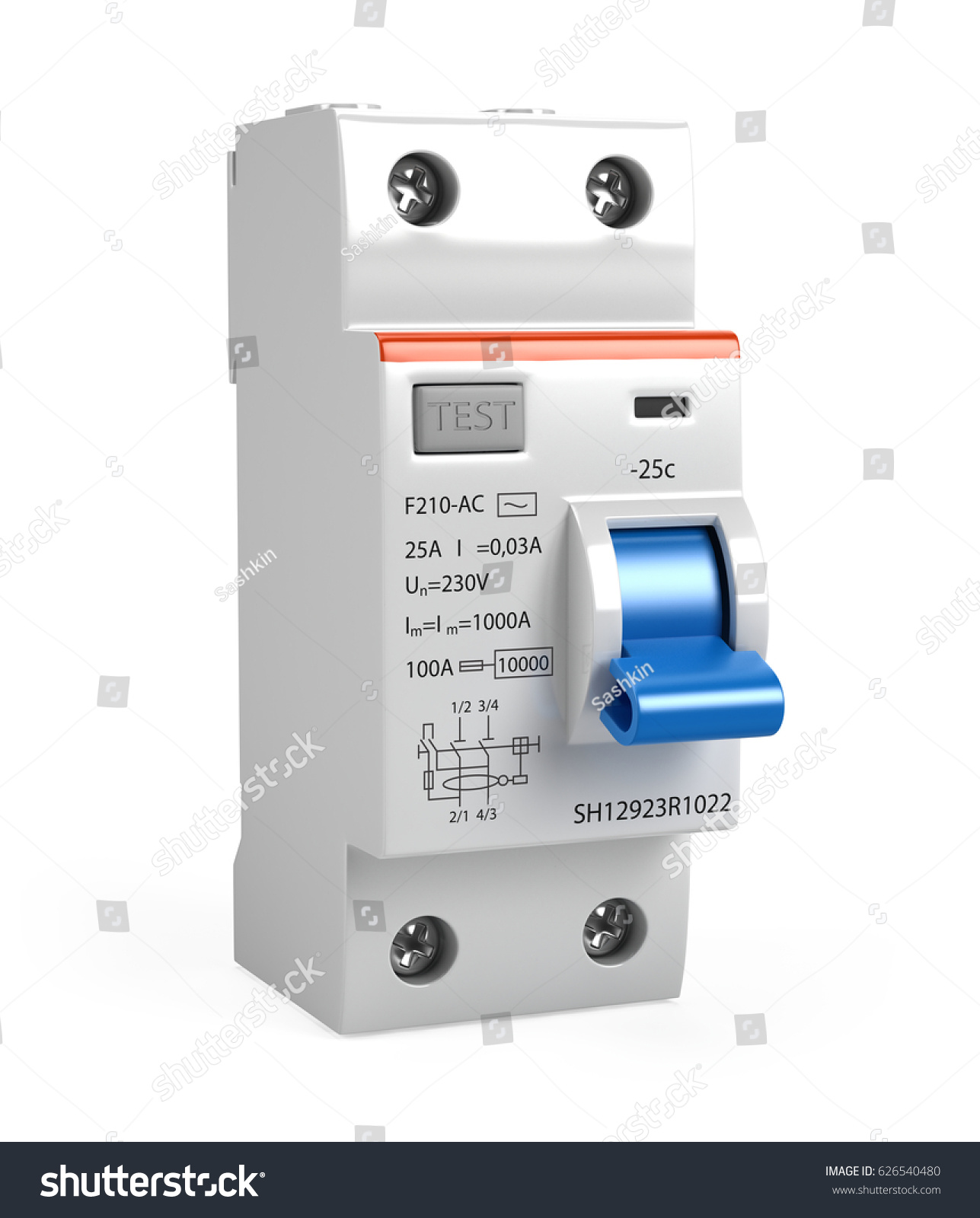 Circuit Breaker Isolated On White 3 D Stock Illustration 626540480 Breakers All About Alert 3d Render