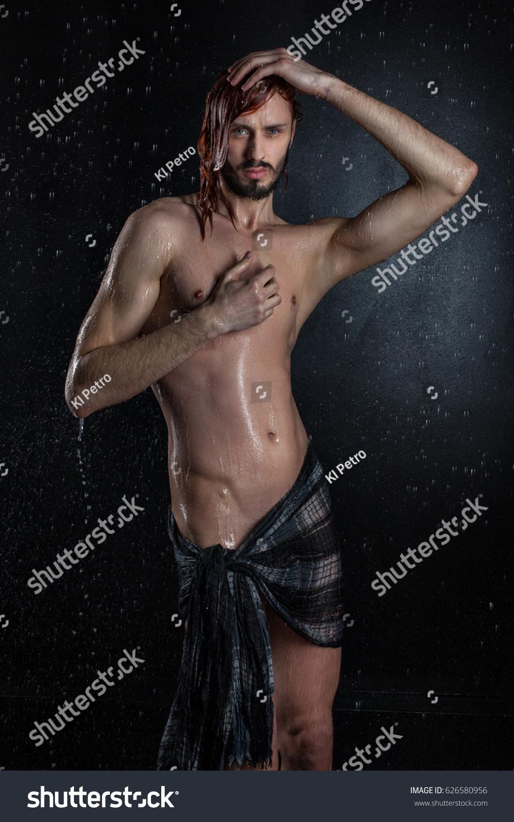 erotic naked wet man he has stock photo & image (royalty-free