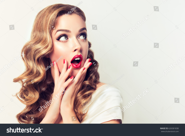 Shocked Surprised Girl Screaming Looking Side Stock Photo Edit Now