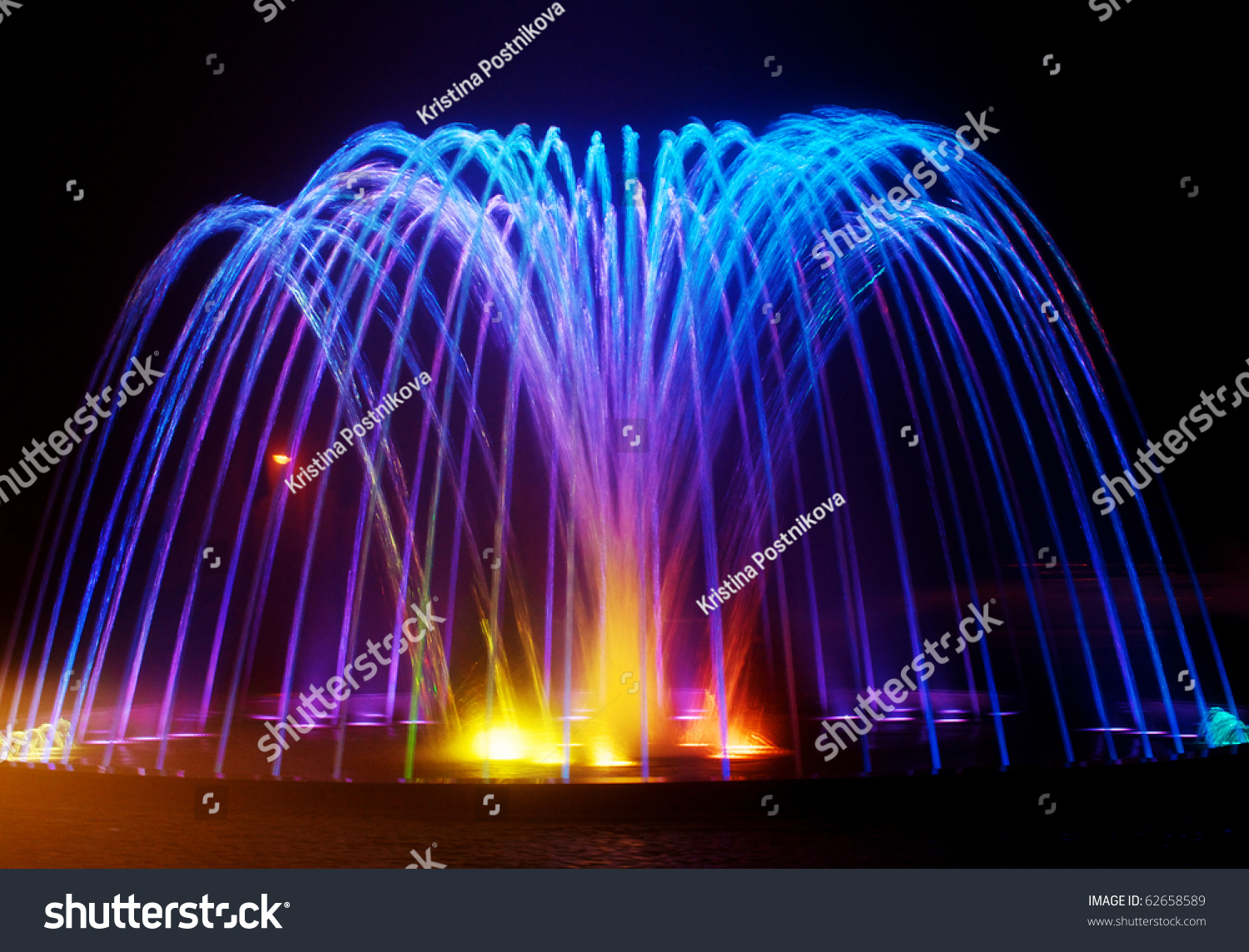 Colored Water Fountain Night Stock Photo 62658589