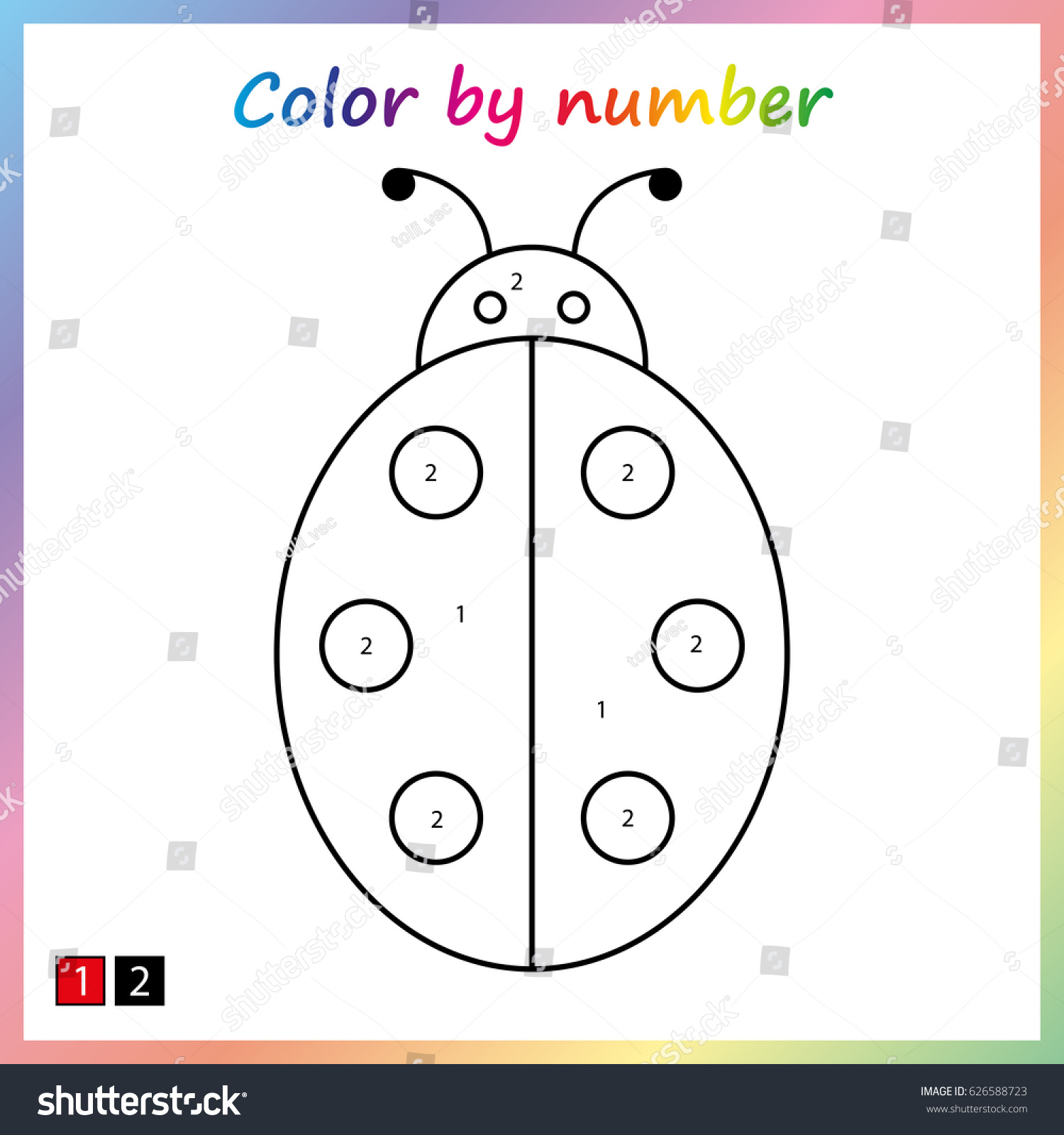 Ladybug Painting Page Color By Numbers Stock Vector 626588723