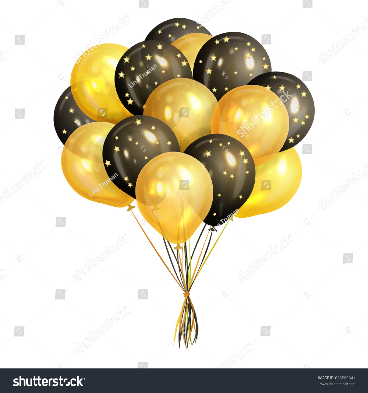 Bunch Of Realistic Black And Gold Helium Balloons Isolated On White Background Party Decorations For Birthday Anniversary Celebration