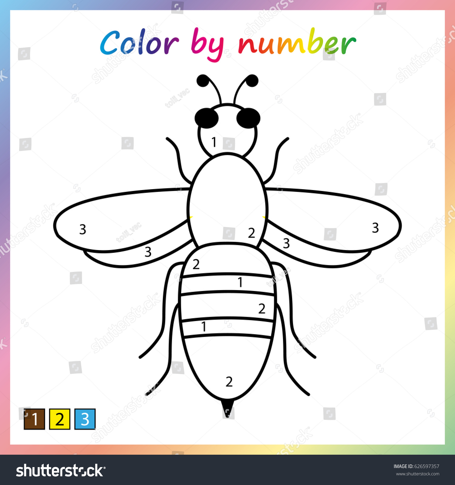 Bee Painting Page Color By Numbers Stock Vector 626597357 - Shutterstock