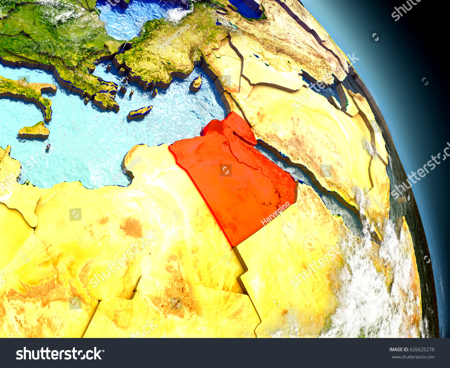 Egypt Red On Model Planet Earth Stock Illustration - What country is egypt in