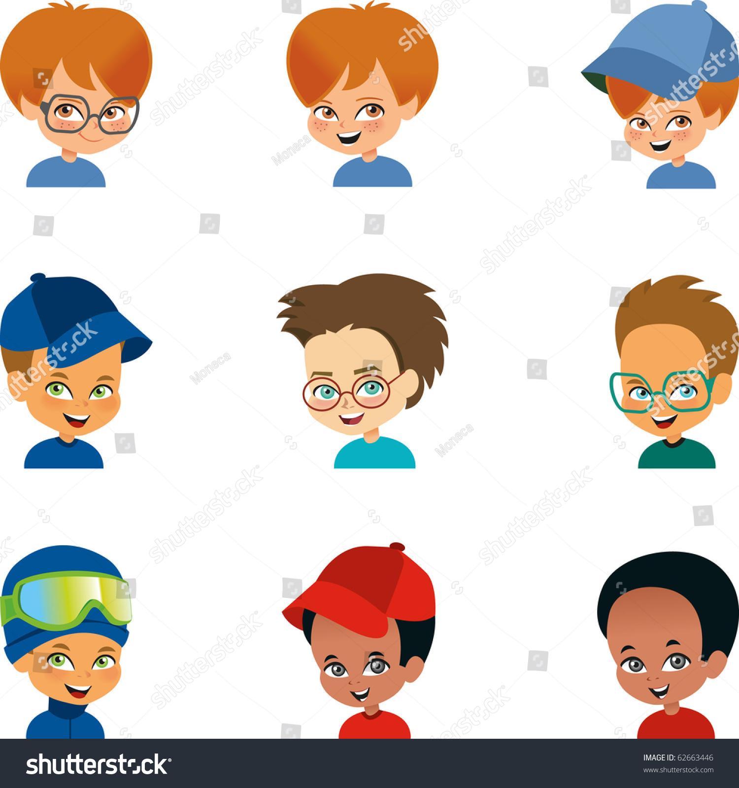 Boy Avatar: Set 9 Cartoon Boy Portraits Avatar Stock Vector 62663446
