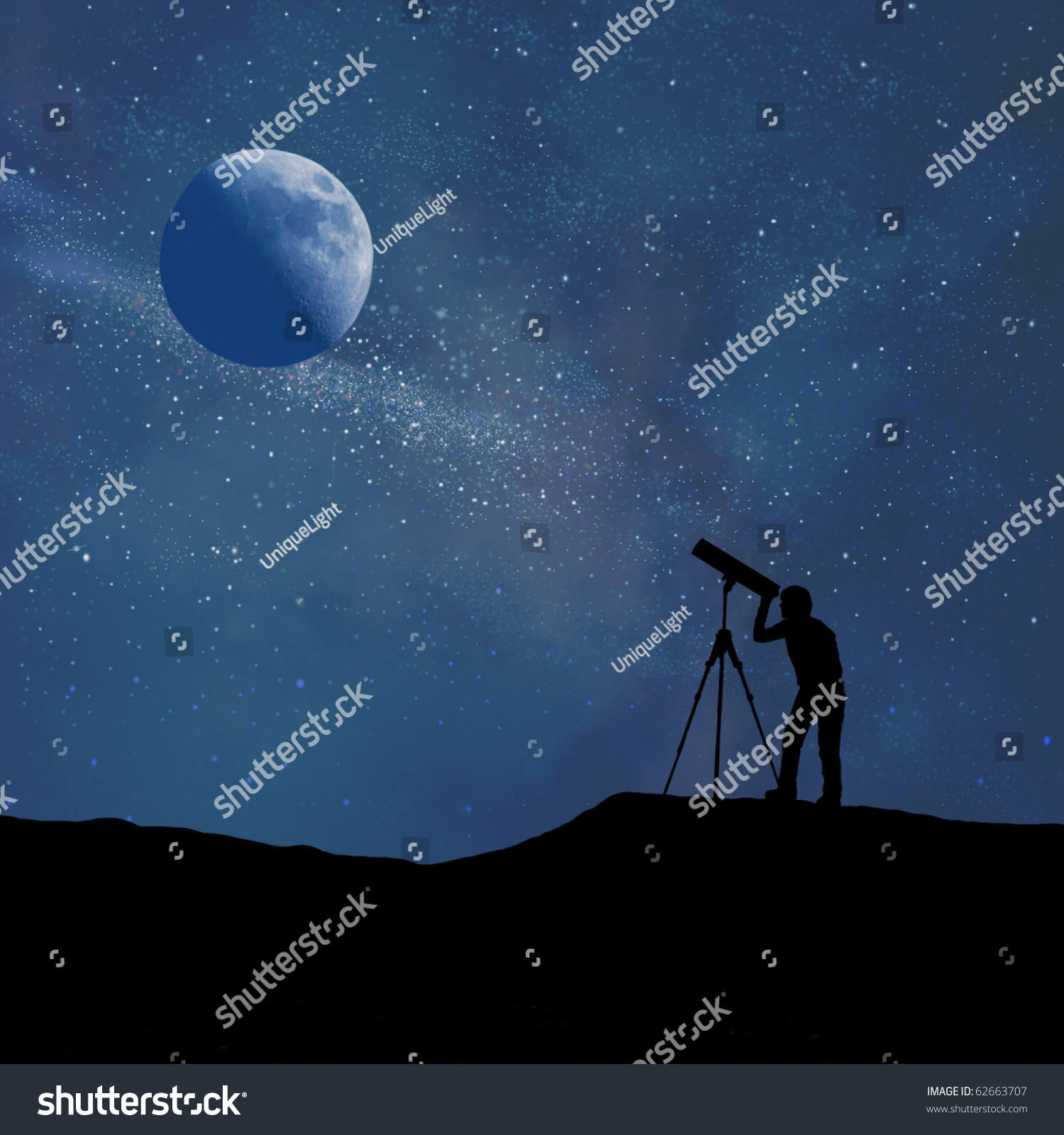 Silhouette of person looking at a stylized digitally created night sky through a stylized digitally created telescope #62663707