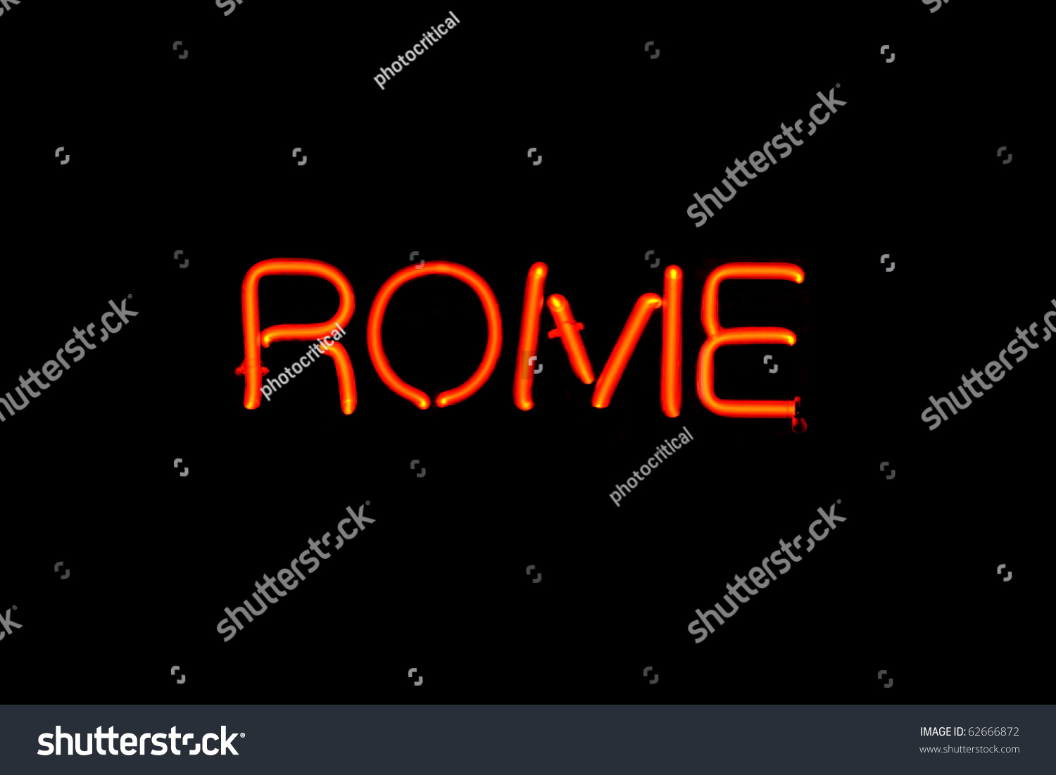 Red Neon Sign Of The Word 'Rome' On A Black Background ...